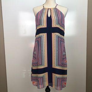 LUXOLOGY HALTER TOP MULTI PRINT SWING DRESS SIZE 4